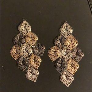 Tri color Metal Leaf Dangle statement Earrings